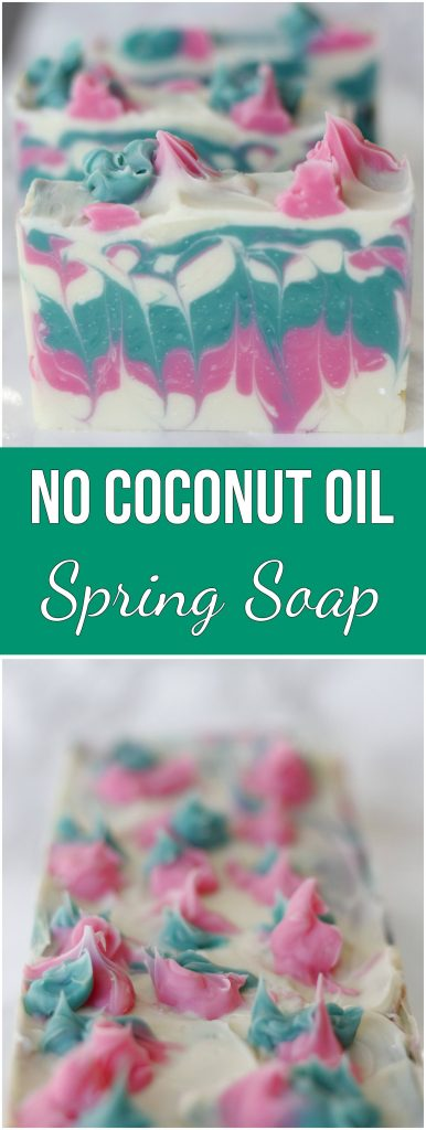 Most cold process soap recipes require coconut oil. This homemade soap is nut free, and the design turned out so neat. One of my favorite techniques, the hanger swirl. #coldprocess #DIY #homemeadesoap #soap