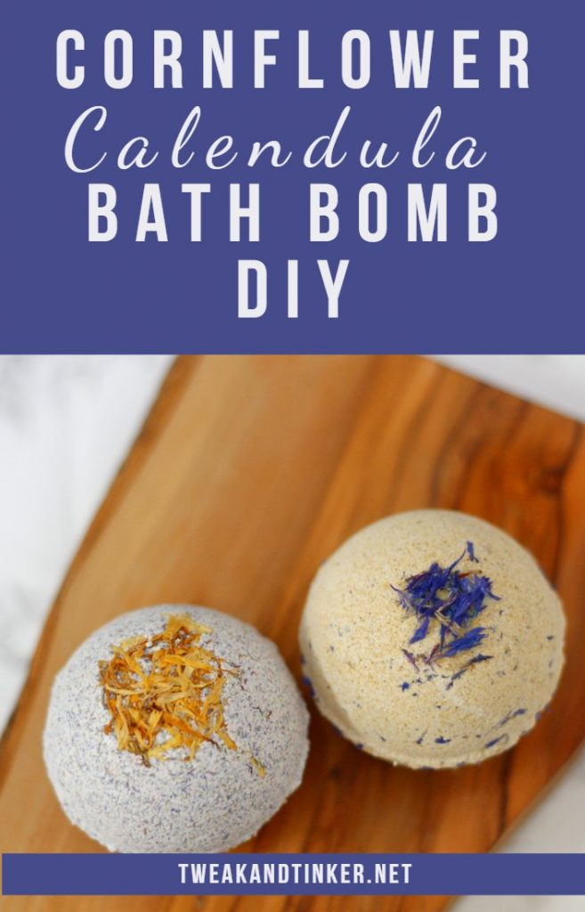 In this post I will show you how to make natural bath bombs using calendula, cornflowers and essential oils. This is a easy DIY recipe that will make for a lovely handmade gift as well. #bathbombs #calendula #essentialoil #handmadegift