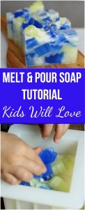 This easy DIY melt and pour soap project is so much fun to make especially for kids. I share the recipe and walk you through on how to make the design. It really is a great idea for a kids craft. #meltandpour #DIY #soap #kidscraft