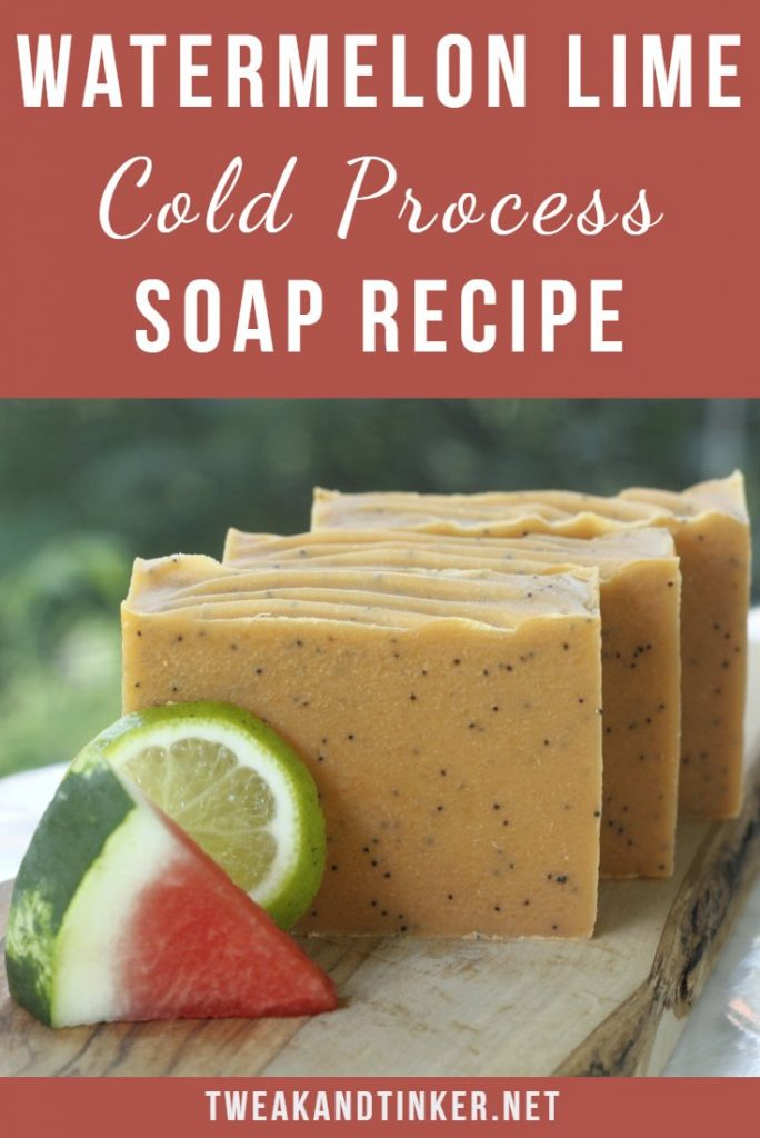 In this cold process soap recipe we will add some watermelon juice and essential oils to create a summery natural artisan homemeade soap. This soap making technique is pretty straight forward and easy enough to DIY if you've made cp soap before. #Coldprocess #DIY #soap #essentialoil