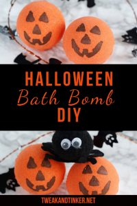 Looking for easy Halloween DIY crafts? These bath bombs are perfect for kids to make. The recipe for these cute pumpkins make for awesome non candy treats, decorations or handmade gifts. #Halloween #halloweencrafts #halloweenDIY #bathbombs #halloweentreats