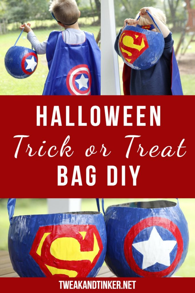 This is one of my favorite Halloween crafts ideas: a trick or treat bags DIY out of papaer mache to match your kids costumes and put their treats in. #halloween #halloweencostumes #halloweencrafts #halloweendiy
