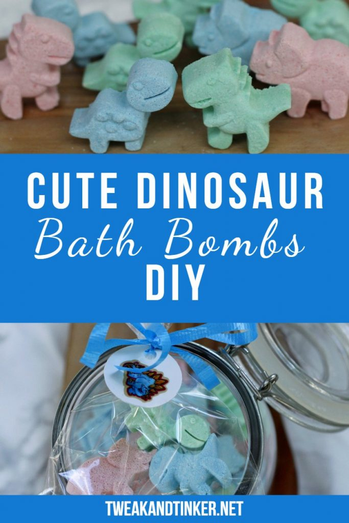 This is a fun DIY project you can do with kids. Dinosaur bath bombs that make cute homemade gifts and birthday party favors for kids made using food coloring. #partyfavors #dinosaurs #bathbombs