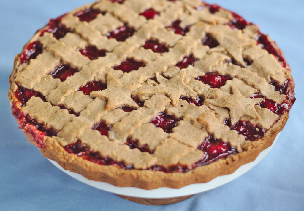 This linzer torte recipe is is an original from Austria. It's a traditional Christmas cake filled with raspberry jam. #christmasbaking #baking #bakingrecipe