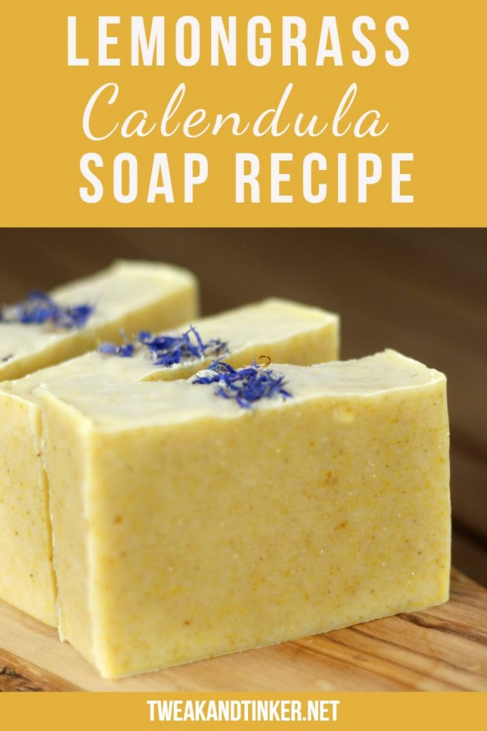 This cold process soap is a natural beauty, don't you think. Find out how to make this soap, the recipe using lemongrass essential oil and calendula. #coldprocesssoap #lemongrass #essentialoil