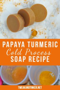 This cold process soap recipe uses papaya, turmeric and essential oils to add interest. Adding fresh ingredients is a great technique to spice up your handmade soap making. #codlprocess #DIY #soap #handmade