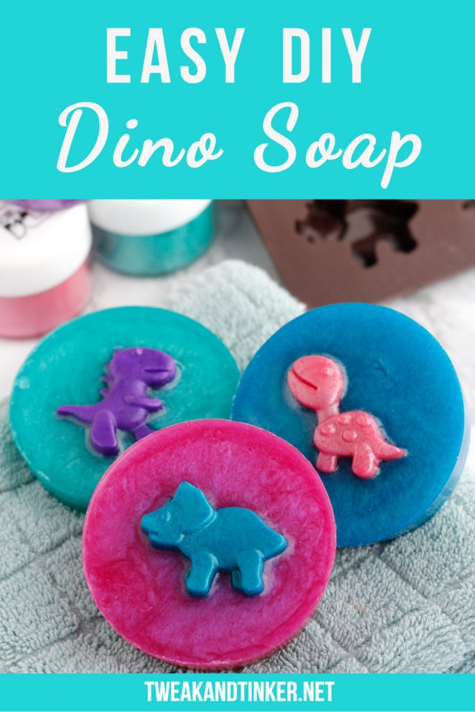 This is such an easy and fun project to do with or for your kids. Aren't these dinosaur melt and pour soaps simply adorable?