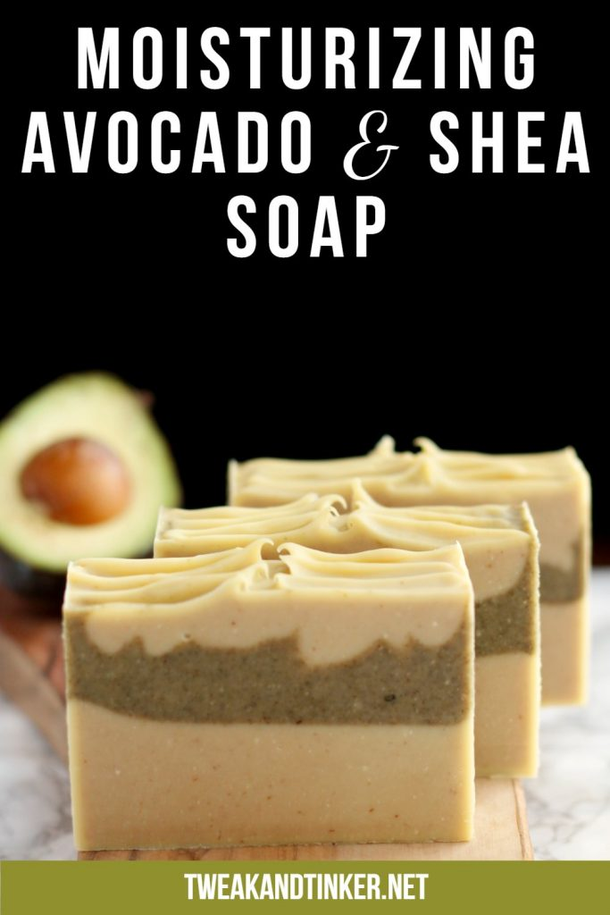This cold process soap uses shea butter, avocado oil and fresh avocado. Scented with essential oils it makes for a gentle skin loving soap.