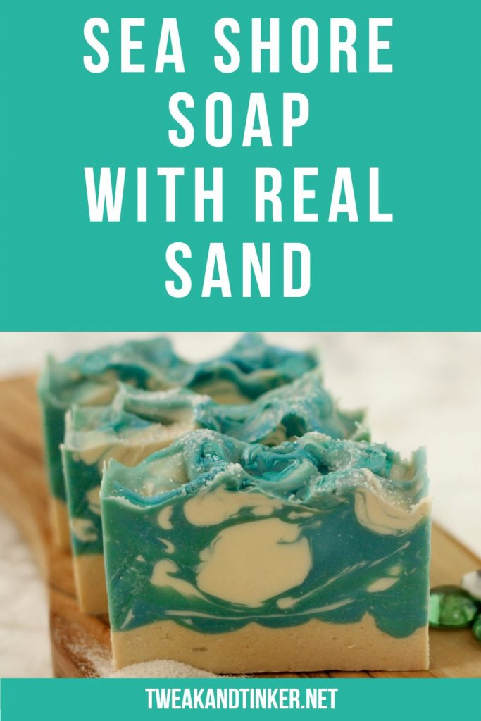 This is a fun cold process soap recipe. I used real sand to make the design and a fresh ocean scent.