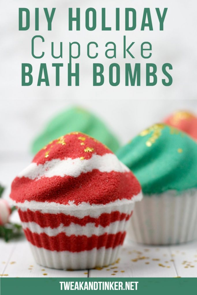 red and white Christmas bath bomb cupcake