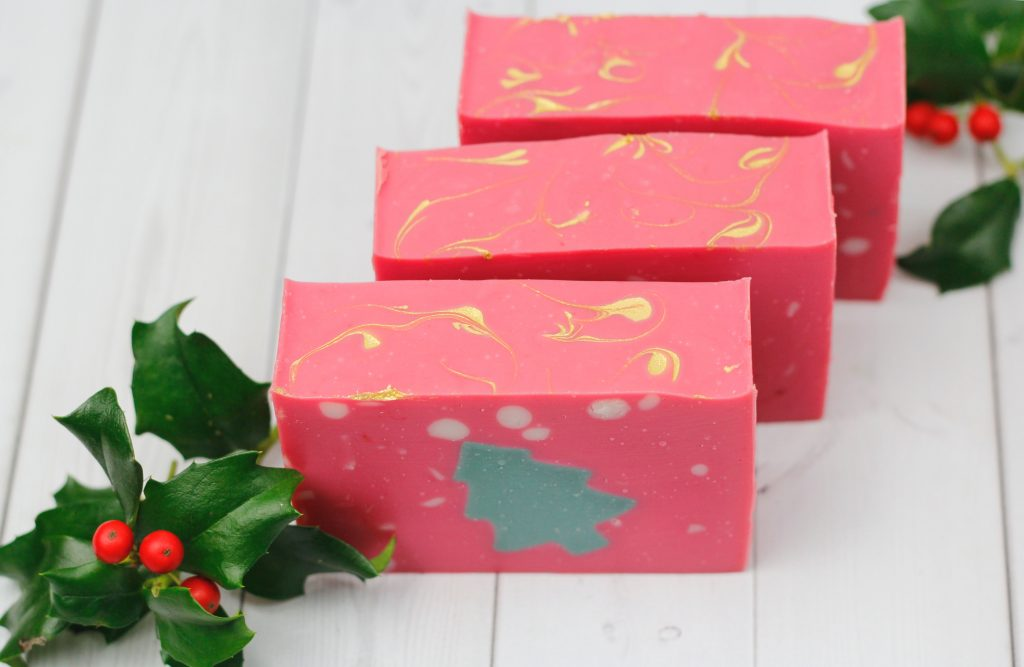 three bar soaps with christmas tree design